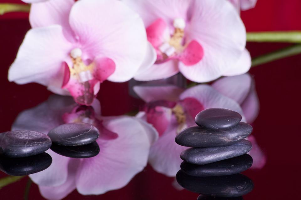 kvety, kamene, relaxačné