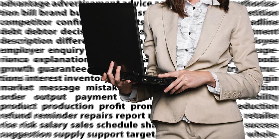 podnikateľka, notebook, slová